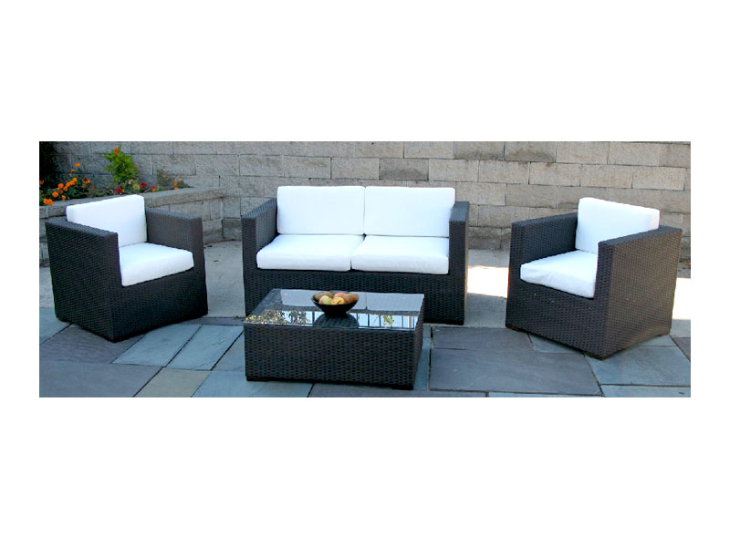 Brown Rattan Collection, Ivory Cushions